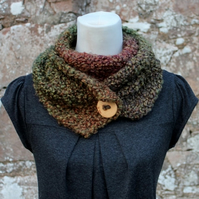 Herb Garden button scarf snood, neckwear, gift guide, knitwear UK, vegan