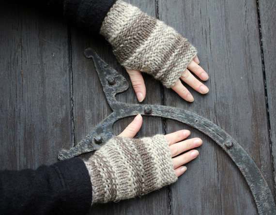 Fingerless gloves, wrist warmers brown organic wool, gift guide for her