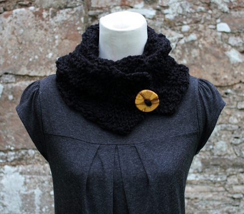 Black knitted button scarf, womens gift guide