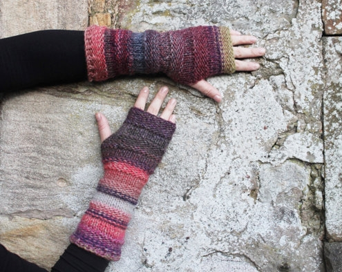 Purple haze arm warmers, fingerless gloves