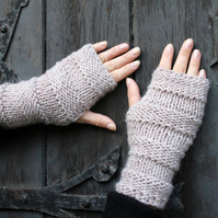 Fingerless gloves, beige mittens, hand warmers, gift guide for her