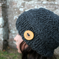 Dark gray womens hat, chunky knit hat, gift guide fir her