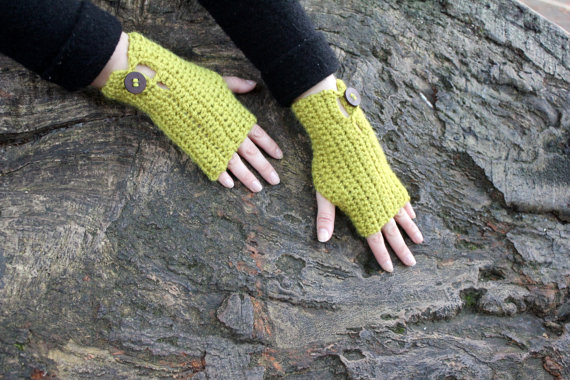 Fingerless gloves, light green mittens, hand warmers, gift guide for her