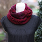 Knitted burgundy scarf, cowl, snood, gift guide for her