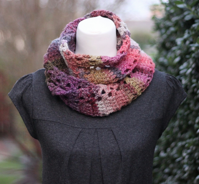 Scarf knitted purple, snood, cowl, gift guide for her
