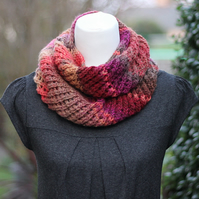 Scarf knitted womens, multicolour snood, cowl, gift guide for her