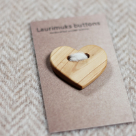 Button wooden handcrafted, natural timber, heart shape