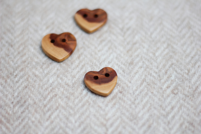Buttons x3, love heart shape wooden, natural, reclaimed, eco buttons