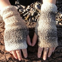 Fingerless gloves, womens knitted beige mittens, gift guide