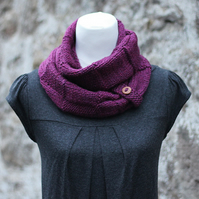 Scarf knitted, chunky cowl, womens snood, berry shade, gift guide for her