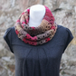 Scarf ininity womens chunky, cowl, snood, red multicolour, gift guide for her