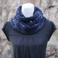 Scarf infinity blue chunky, womens cowl, snood, gift guide for her