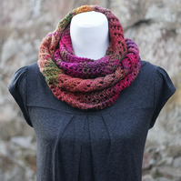 Scarf knitted lace chunky, womens cowl, snood, bright colours, gift guide for he