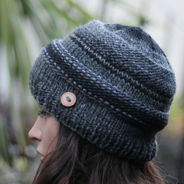 Beanie hat knitted, gray black, gift guide for her