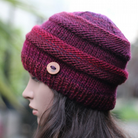 Beanie hat knitted, burgundy womens hat, gift guide for her