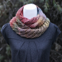 Scarf knitted multicolour, womens cowl, snood, gift guide for her