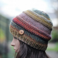 Beanie hat knitted, womens multicolour hat, gift guide for her