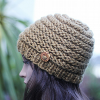 Hat knitted mustard, beanie, gift guide for her
