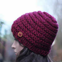 Hat knitted beanie, burgundy hat, gift guide for her