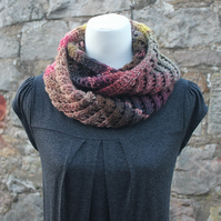 Scarf knitted chunky, womens cowl, colourful snood, gift guide for her