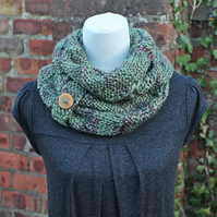 Fern scarf infinity, womens green cowl, snood, gift guide for her