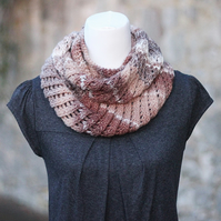 Scarf knitted infinity, cowl, snood, soft brown, womens gift guide