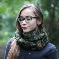 Scarf knitted infinity, cowl, snood, dark green foliage, womens gift guide