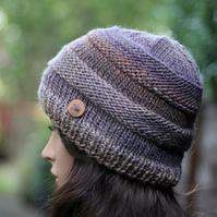 Beanie hat knitted womens, purple and brown, gift guide for her