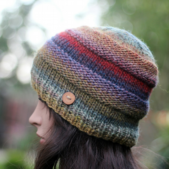 Beanie hat knitted multicolour womens