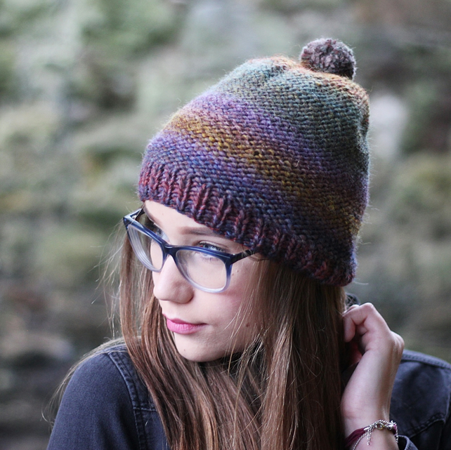 Knitted beanie hat multicolour with pom pom, womens gift guide