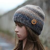 HAT knitted beanie, brown beige with blue winter chunky hat with button, womens