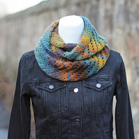 SCARF knitted infinity - cinnamon azure diagonal lace cowl, snood