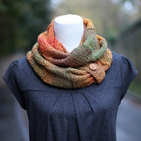 SCARF, knitted infinity loop scarf, chunky autumn shades button snood, cowl