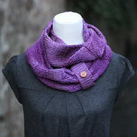 SCARF, knitted infinity loop scarf, chunky purple button snood, womens cowl