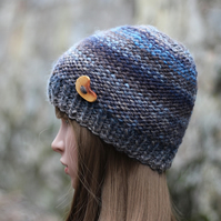 HAT knitted beanie, blue mix with brown winter chunky hat with button, womens gi