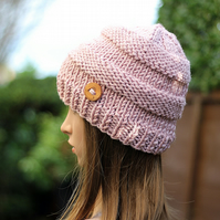 HAT knitted pastel pale pink, winter hat, chunky beanie, womens gift, UK
