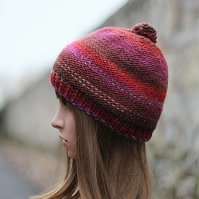 Knitted beanie hat multicolour terra mix with pom pom, womens gift, UK