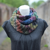 Scarf knitted infinity, cowl, snood, multicolor, women's gift guide