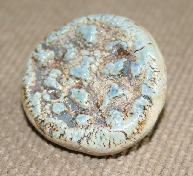 Handmade ceramic blue brown fossil brooch
