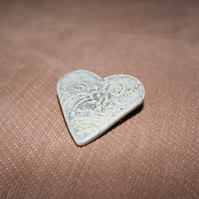 Handmade Heart ceramic blue brooch mothers day gift