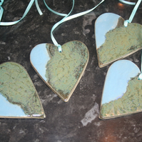 Handmade green light blue heart ceramic hanging decoration mothers day gift