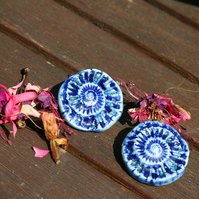 Handmade ceramic Ammonite blue glaze brooch