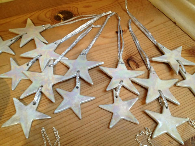Duo star white & mother of pearl lustre ceramic hanging decoration