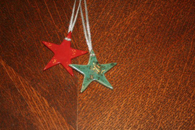 Christmas Handmade ceramic speckled green star hanging decoration