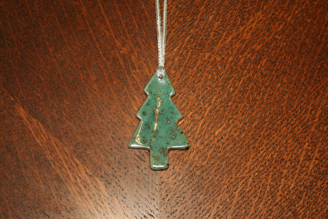 Christmas terracotta ceramic metallic speckled green tree hanging decoration