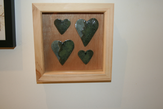Wooden frame with handmade green & speckled light blue ceramic  hearts