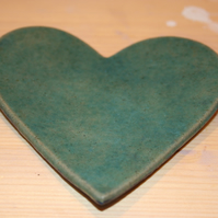 Handmade ceramic turquoise Heart decoration with embossed pattern