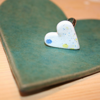 Handmade heart shaped  Konfetti glaze Ceramic ring