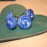 Handmade ceramic blue button ring mothers day gift