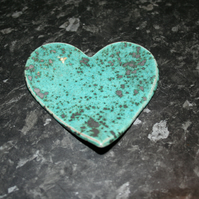 Handmade ceramic green Heart decoration with embossed valentine heart design
